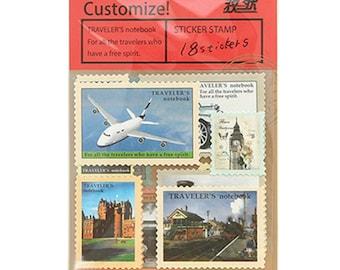 Midori 18 piece set stickers stamp