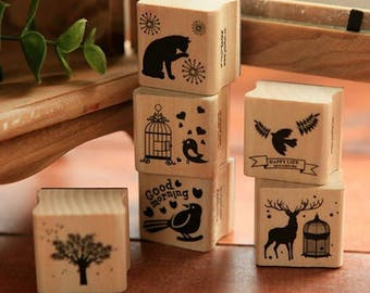 Wooden and rubber stamps in 6 assorted designs listed here