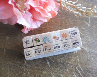 Wooden and rubber stamps 12 piece set in assorted designs