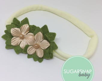 Girls flower hair band - Soft Baby flower girl -  Toddler Hairband - Hair Accessories - Hair Band -  - Girl Headband - Pretty - Cream color
