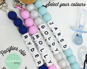 PERSONALIZED Silicone Teething Pacifier Cip - Chew Beads - Bite Beads - Universal Pacifier Holder - soother clip -baby shower - name clip