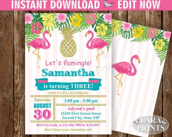 INSTANT DOWNLOAD / Birthday Invitation / Flamingo / Pineapple / Pool / Bash / invite / Luau / Hawaiian / Party Pink Teal Gold BDP2