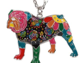 Bulldog Jewelry - English Bulldog Necklace- Bulldog Art - Bulldog Watercolor - Bulldog Figurine- FREE Shipping