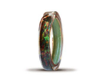 Plexiglass Bangle, handmade, with gold leaf and silver mille