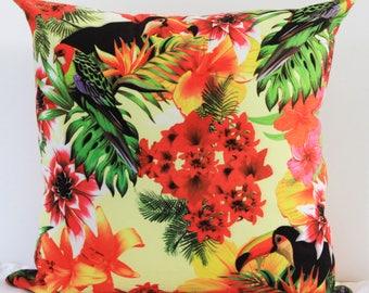 18x18 Tropical birds Pillow cover, pillow, Pillow Cover, Decorative Pillow.