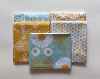 Fat Quarter Bundle, Mint/Mustard, Wander Collection, Joel Dewberry, Quilting Cotton, 5 Piece, Blender Fabrics