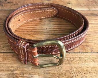 1980's Geoffrey Beene Italian Brown Leather Belt