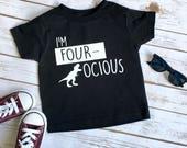 Four-ocious shirt - 4 Year old Birthday - Fourth Birthday shirt - 4th Birthday Shirt - Dinosaur Birthday - Dinosaur shirt - 4 year old Shirt