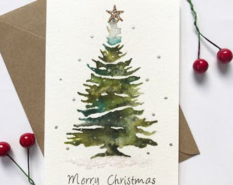 Set of five christmas cards, handmade christmas, christmas card set, set of cards, hand painted card, christmas tree card, glittery cards