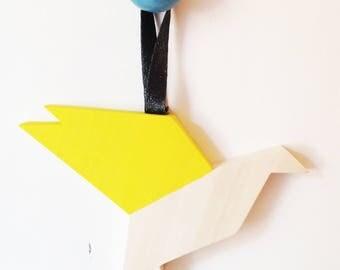 Wooden hanging bird module
