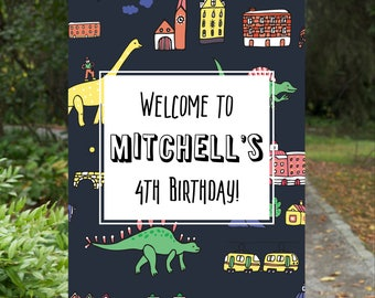 Dinosaur Birthday Decorations, Dinosaur Welcome Sign, Boys Welcome Signs, Dinosaur Party Decorations, Printable Dinosaur Decorations, Poster