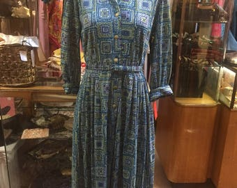 Snazzy 1950s Nylon Jersey Dress featuring lovely pattern in blue tones