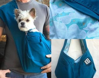 Bullshitz Doggie Bagz: Teal Blue with Modern Clouds and Birls