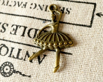 Ballerina dancer bronze charm jewellery supplies