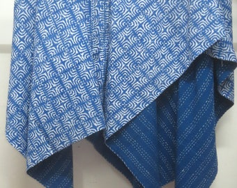 Twin Size Cotton Kantha Quilt, Reversible Throw Blanket, Handmade Kantha Gudri, Blue Bed Cover Bedding Sheet, Block Print Cotton Quilt