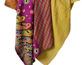 Indian Handmade Vintage Cotton Kantha Throw, Reversible Kantha Blanket, Twin Size Cotton Kantha Quilt, Patchwork Ethnic Kantha Gudri