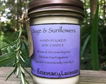 Lavender Rosemary Hand-Poured Soy Candle (8oz, earth friendly, essential oils, sustainable, recycled, gift, jelly jar)