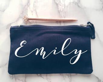 Navy blue personalised pencil case   Personalised gift   student gift    Personalised Birthday Present   School bag   Personalised bag