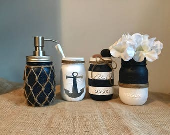 Nautical Bathroom Mason Jar Set   Painted Mason Jar   Bathroom Decor   Home  Decor   Part 77