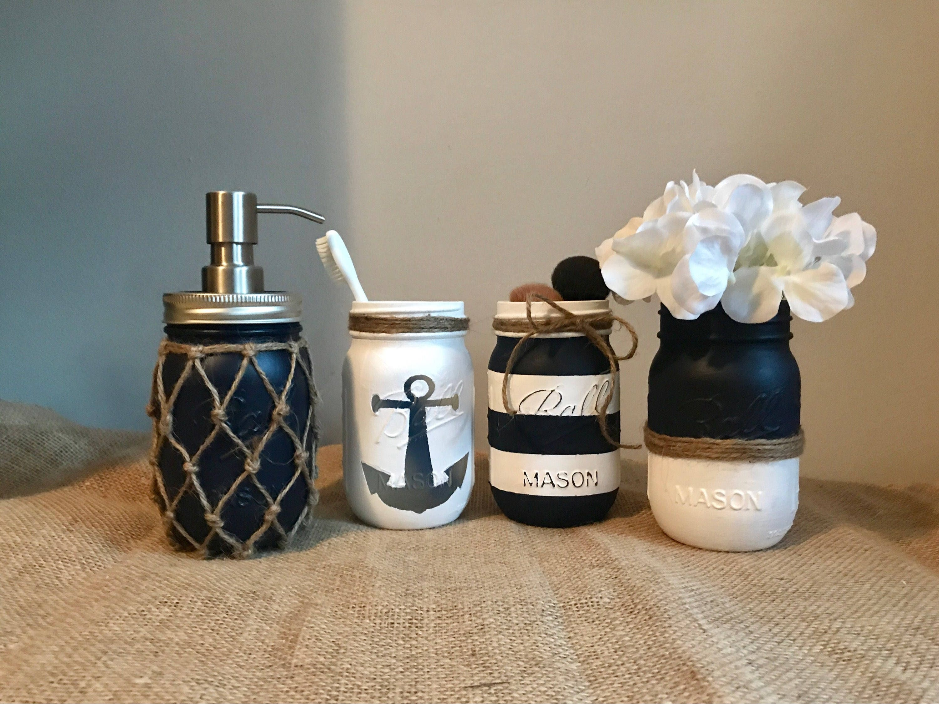 85 Ideas About Nautical Bathroom Decor: Nautical Bathroom Mason Jar Set Painted Mason Jar Bathroom