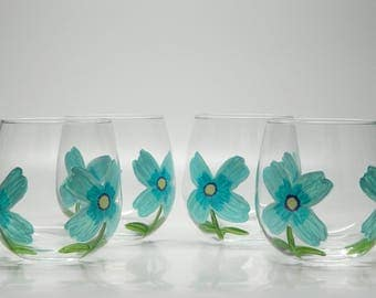 Tumbler Wine Glasses 12 oz (4 Piece Set) // Hand Painted Tiffany Blue Flower Design