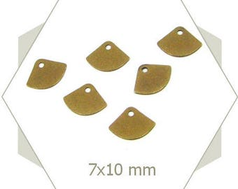 15 10 mm BB143 smooth bronze fan charms
