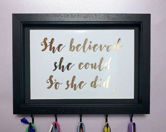 She Believed She Could, Medal Hanger Frame, Medal Holder, Motivational Gift, Foil Print, Running Gift, Sport Gift, Race Bling