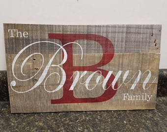 Personalized Wood Sign,Custom Name Wood Sign, Wedding Gift Sign, Pallet Last Name Sign, Rustic Sign, Established Date Family Sign,