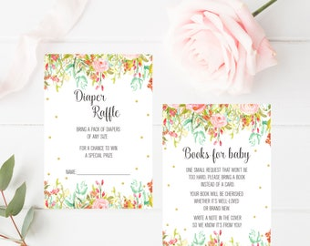 Books for Baby - Baby Shower Card, Custom Baby Shower Printable, Watercolor Floral Party Invitation Digital Print, Printable Book Request