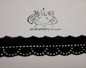 """4 metres * 2.5 cm """"Broderie anglaise"""" - 100% cotton - black - Black Embroidered Lace black REF 1318"""