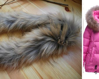 68 cm Ribbon fur real raccoon for real Raccoon Fur Collar Hooded Hoodie