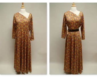 Vintage 70s Maxi Dress ⎮ 1970s Asymmetrical Neckline Dress⎮ Handmade Long Dress ⎮ Long Sleeve Dress