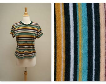 Vintage 70s Velour Shirt ⎮ 1970s Skater Top ⎮ Vintage Striped Grunge Shirt