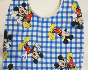 Mickey Mouse Blue and White Checkered Reversible Baby Bib