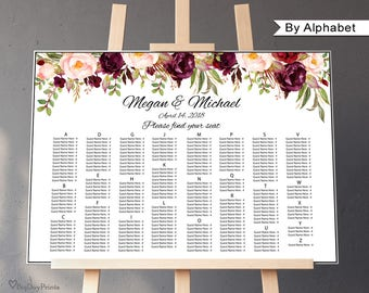 Wedding Seating Chart Template, By Alphabet, Boho Chic Wedding Table Plan, Seating Plan, Landscape, #A023, INSTANT DOWNLOAD, Editable PDF