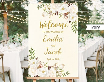 Welcome Wedding Sign, Printable Wedding Reception Sign Template, Ivory, White, Gold, #A055, INSTANT DOWNLOAD, Editable PDF