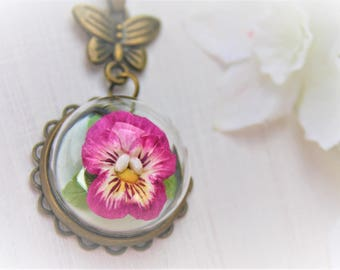 Flower Terrarium Necklace Flower Necklace Pansy Necklace Pansy Glass Dome Pendant Clay Miniature Flower Necklace Floral Necklace