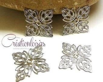 10 metal 25 mm silver filigree Butterfly prints