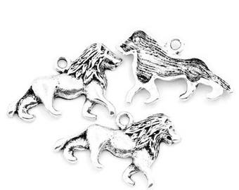 10 charm pendants Lion accessory jewelry metal silver 26 x 17 mm