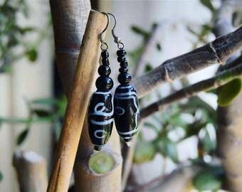 African Ceramic Earrings | tribal & ethnic jewelry | clay / glass / ceramic beads | handmade in Senegal