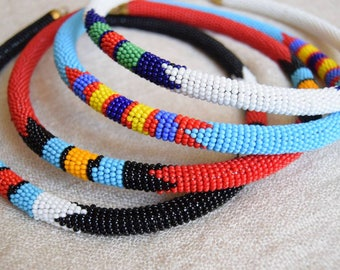 Tribal Beaded Rope Maasai Necklace | African Ethnic Jewelry | choker, beads & brass closure | handmade in Kenya