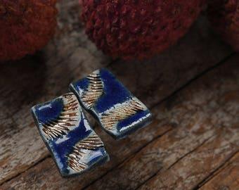 Asymmetric II Handmade porcelain ear studs earrings