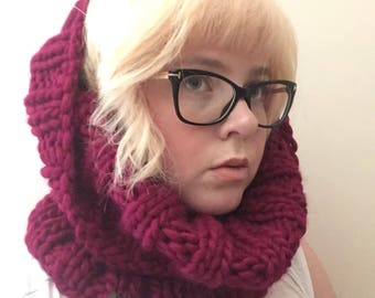 Berry Chunky Ribbed Cowl/Bulky Knit/ Neck warmer