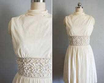 1960s Soiree Fastueux dress | vintage 60s Anne Fogarty | vintage white beaded dress