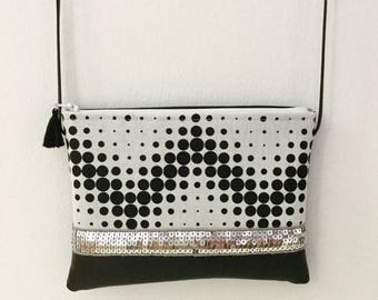 POINTS graphics, black and white bag, faux leather bag shoulder bag and tissue, for women