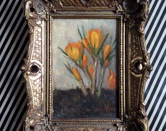 Natural Dutch oil painting of yellow Crocus spring flowers 1920-1930, Louis vd Steen, natural simple painting,small artwork, antique. floral