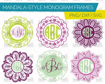 Mandala Monogram Cut File - 6 frames included! Monogram frame, Monogram circle, Mandala SVG, use with Cricut & Silhouette, Instant Download