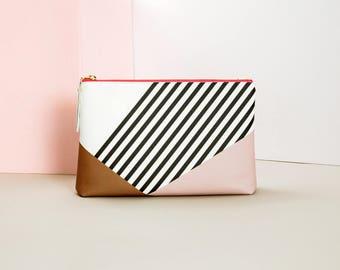 Clutch Bag, Handbag,  Stripe  Pattern, Printed on Vegan Leather, Thick, Abstract Pink Brown, Shoulder Bag