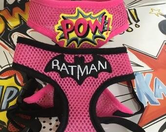 Customised superhero fabric mesh dog harness - Batman - Batgirl - Supergirl - DC - Marvel