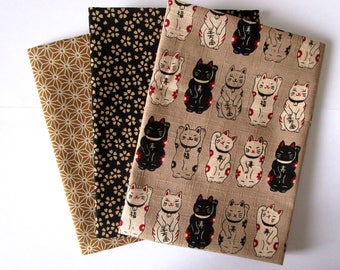 Set of 3 coupons 45 x 35 cm - Manekineko - beige and black